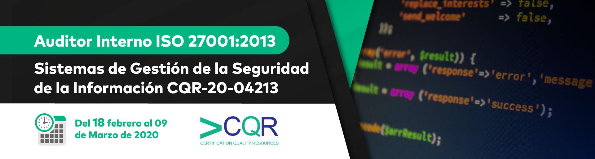 Curso Auditor Interno ISO 27001 CQR Cotecna
